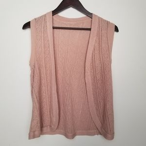 3/$33 Brown beige knit crochet open vest cardigan
